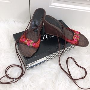 Delman Brown Silk Espadrille Ankle Wedges Berry